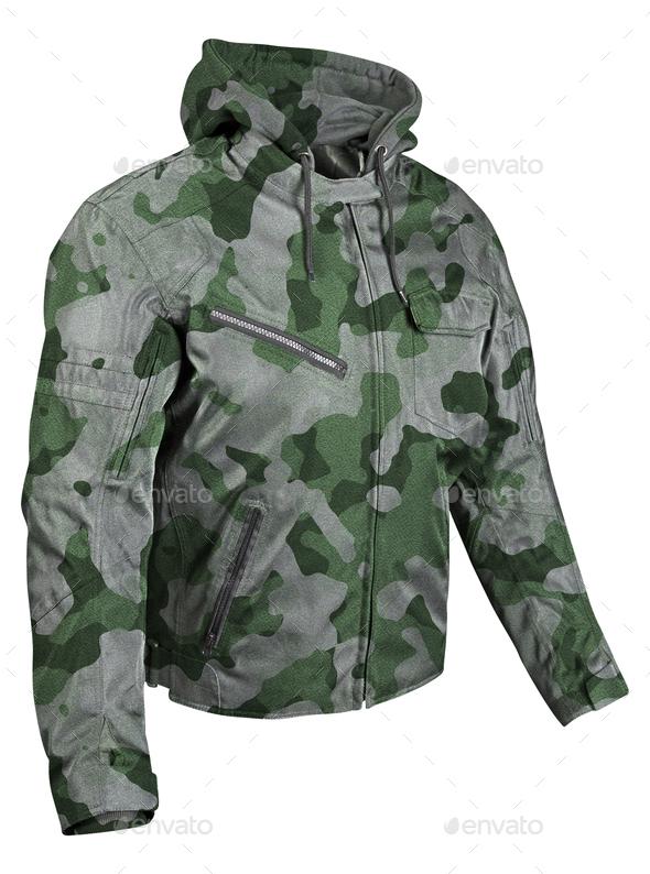 Camouflage jacket isolated on white - Stock Photo - Images