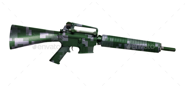 M16 rifle isolated on white - Stock Photo - Images
