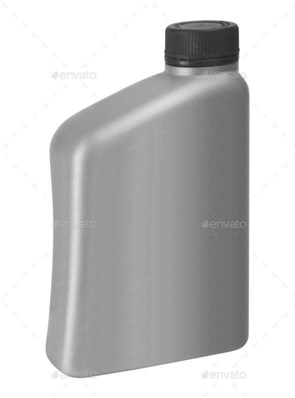 Gray canister with engine oil - Stock Photo - Images