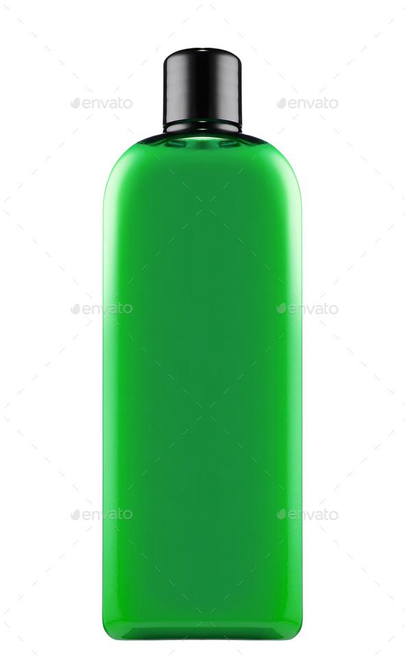 green shampoo bottle isolated - Stock Photo - Images
