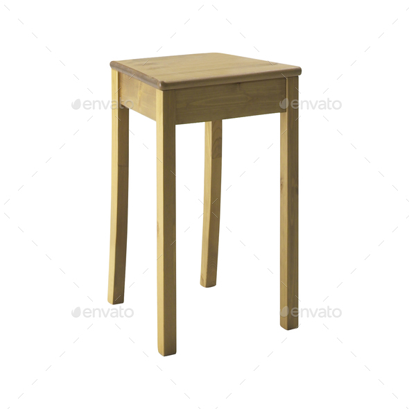 wooden stool isolated - Stock Photo - Images