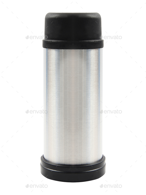 metal thermos isolated on white - Stock Photo - Images