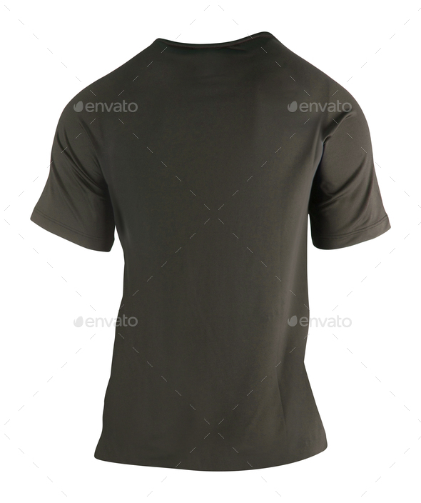 Black cotton t-shirt isolated - Stock Photo - Images