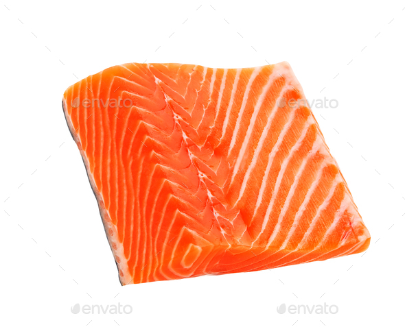 salmon fillet isolated - Stock Photo - Images