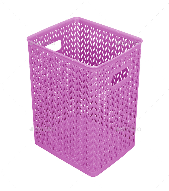plastic purple basket isolated on white - Stock Photo - Images