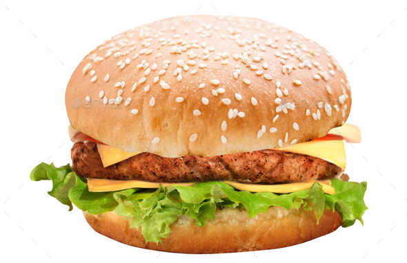 burger isolated on white - Stock Photo - Images