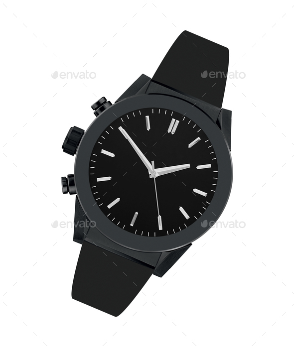 Black steel watch isolated - Stock Photo - Images
