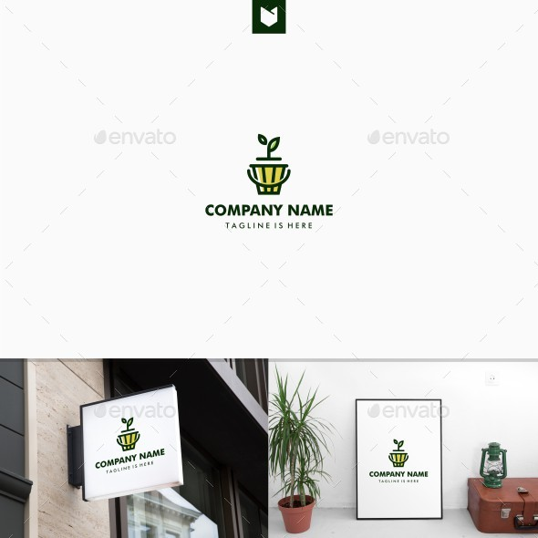 Leaf Plant Sprout Pot Logo - Nature Logo Templates