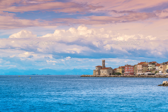 Cape Madona in old town of Piran in Slovenia - Stock Photo - Images