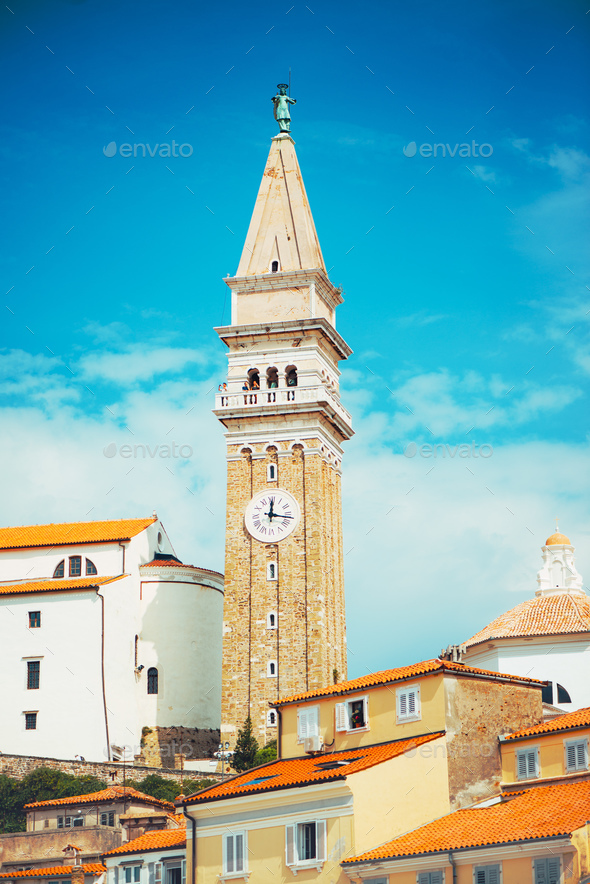 Bell clock tower in Piran, Slovenia - Stock Photo - Images