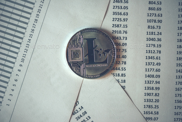 Litecoin cryptocurrency coin - Stock Photo - Images