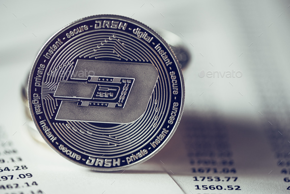 Dash cryptocurrency coin - Stock Photo - Images