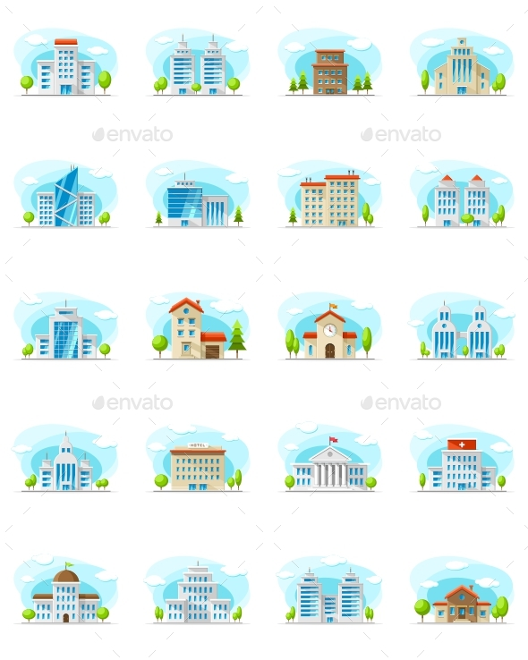 20 City House Apartment and Residential Vectors - Buildings Objects