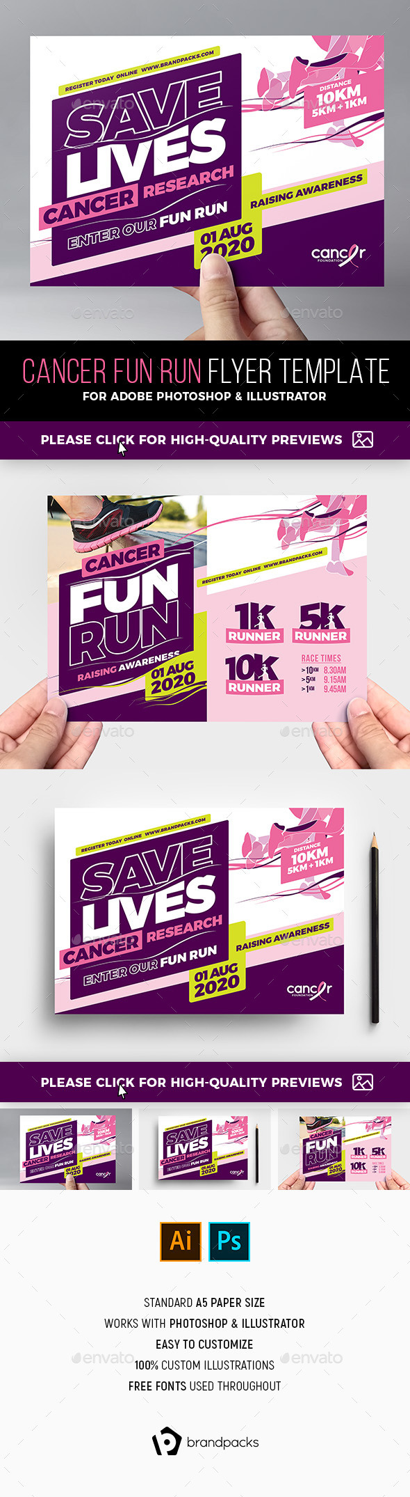 Cancer Benefit Flyer Template - Sports Events