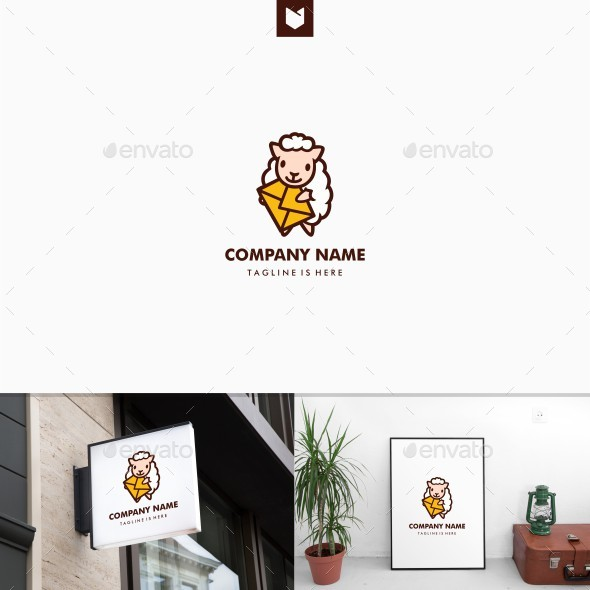 Sheep Mail Message Delivery Mascot Logo - Animals Logo Templates
