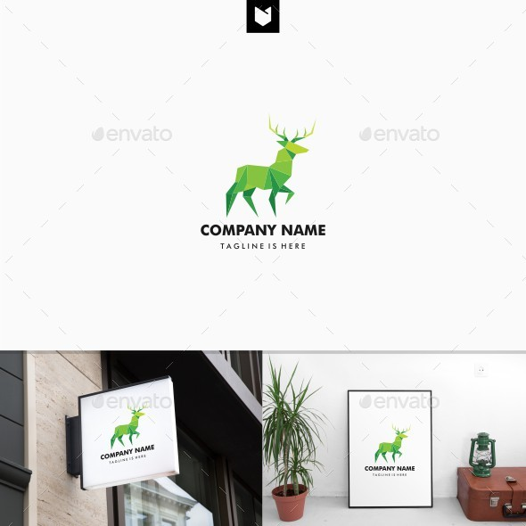 Geometric Deer Lowpoly Logo - Animals Logo Templates