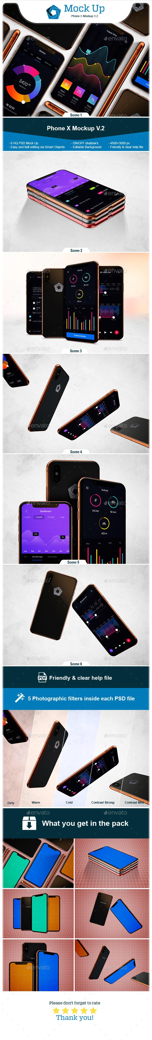 Phone X Mockup V.2 - Mobile Displays