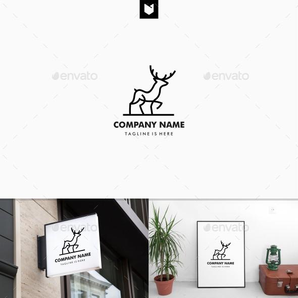 Walking Deer Logo Line - Animals Logo Templates