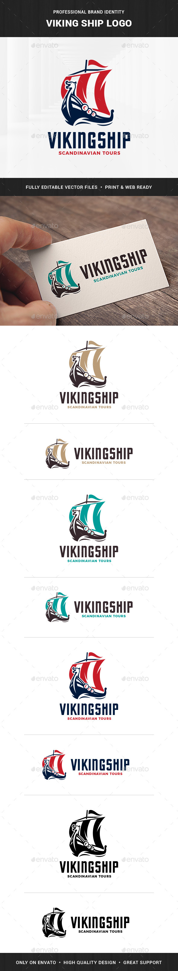 Viking Ship Logo Template - Objects Logo Templates