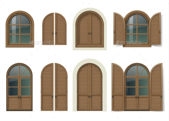 Wooden Window and Doors with Shutters - Buildings Objects