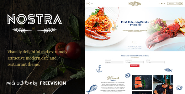 Image of Nostra - An Elegant Cafe & Restaurant WordPress Theme