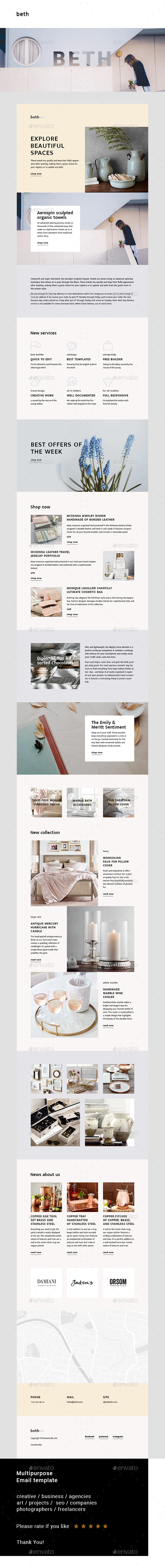 Beth – Multipurpose Email Template - E-newsletters Web Elements