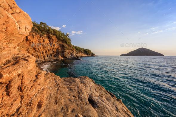 Sunrise over the sea and coastline. Thassos, Greece - Stock Photo - Images