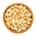 Peanuts, roasted and salted, in wooden bowl, over white - PhotoDune Item for Sale