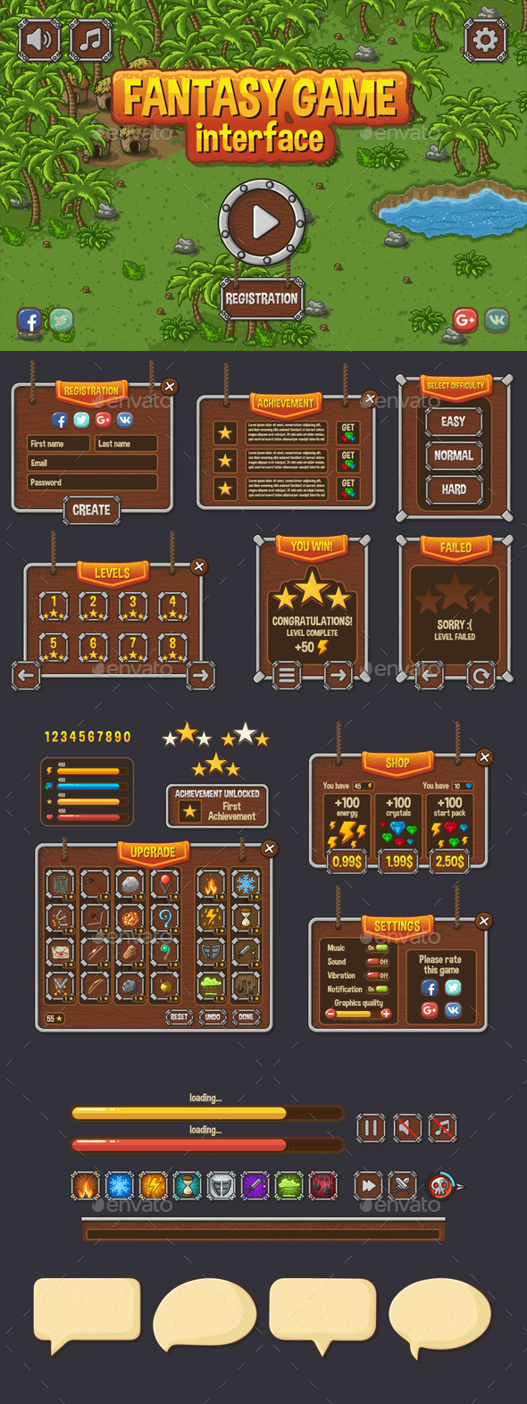 Fantasy Game UI - User Interfaces Game Assets