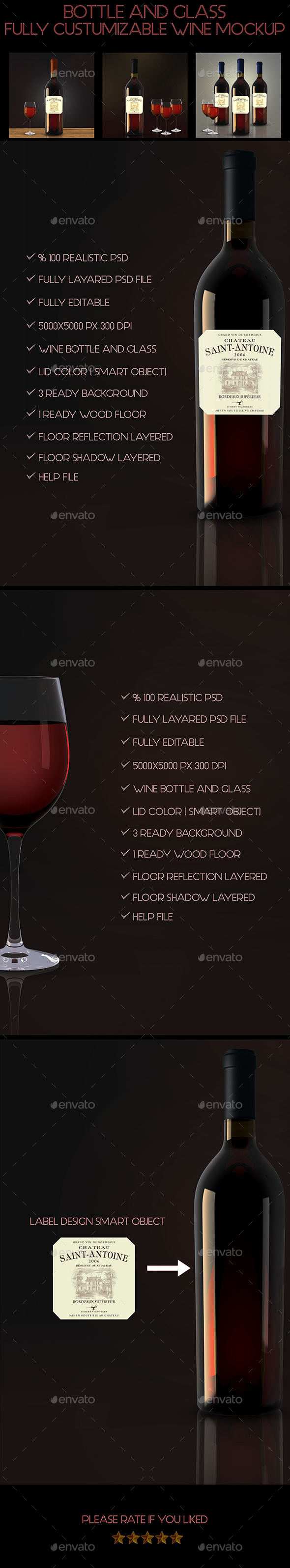Bottle and Glass Wine Mockup - Food and Drink Packaging