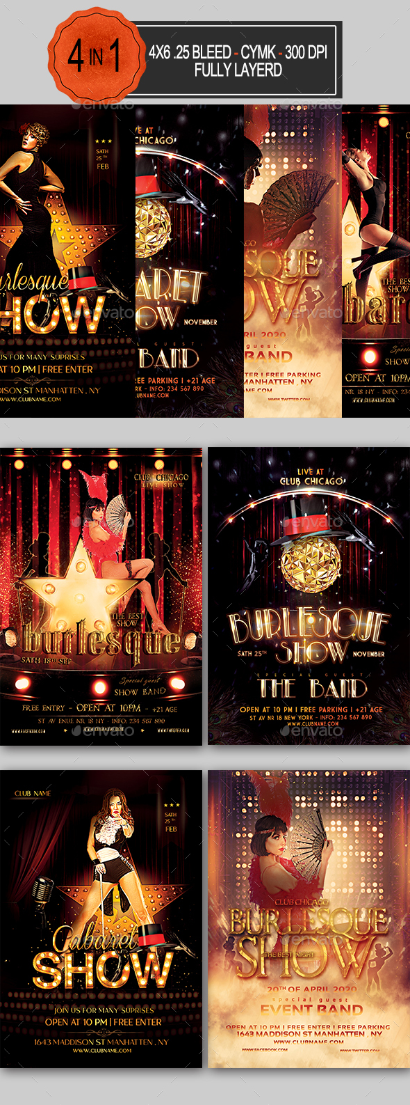 Burlesque and Cabaret Flyer Bundle - Clubs & Parties Events