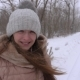 Beautiful Girl Smiling in Strong Snowstorm, in Winter - VideoHive Item for Sale