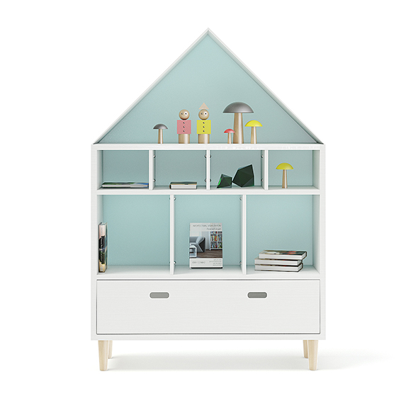 House Shape Shelf with Decorations - 3DOcean Item for Sale
