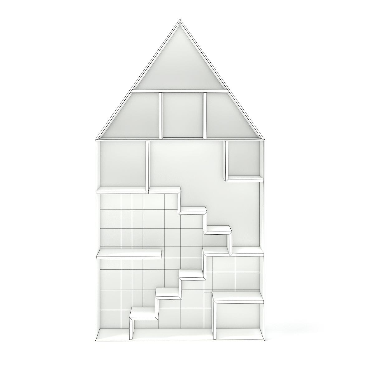 House Shape Shelf with Patterned Back