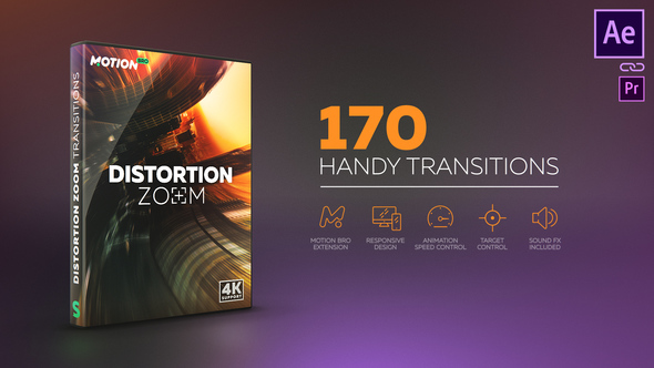 Distortion Zoom Transitions for After effects - Free download