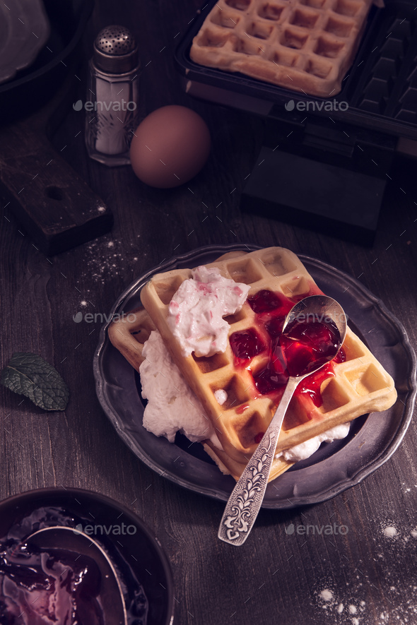 Waffles with whipping cream - Stock Photo - Images