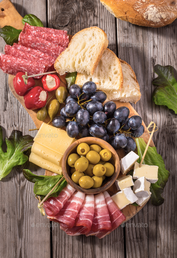 Antipasti snacks above - Stock Photo - Images