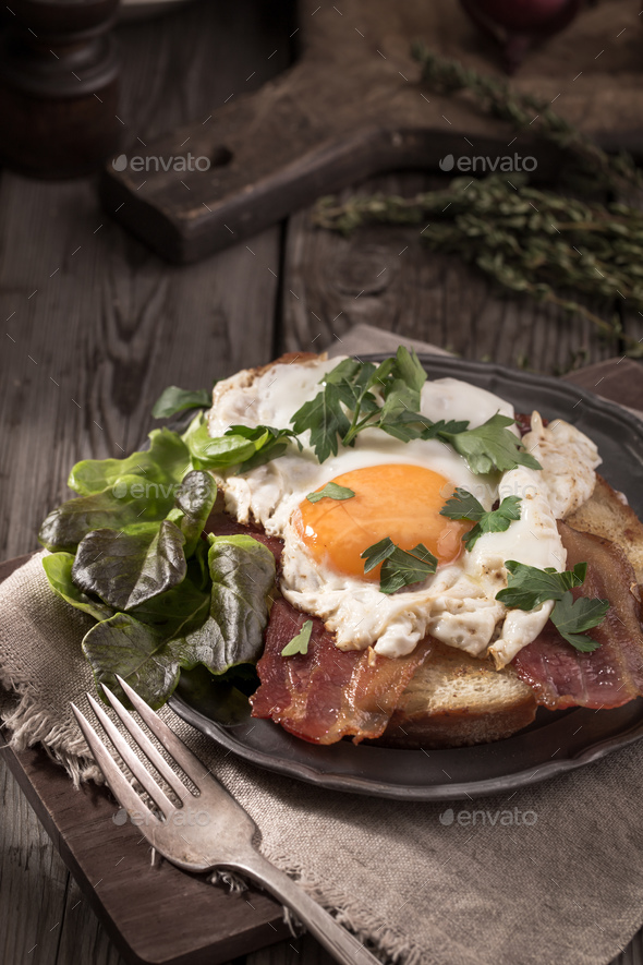 Fried egg toast rustic - Stock Photo - Images