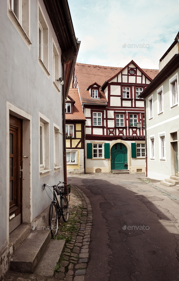 Typical european street - Stock Photo - Images