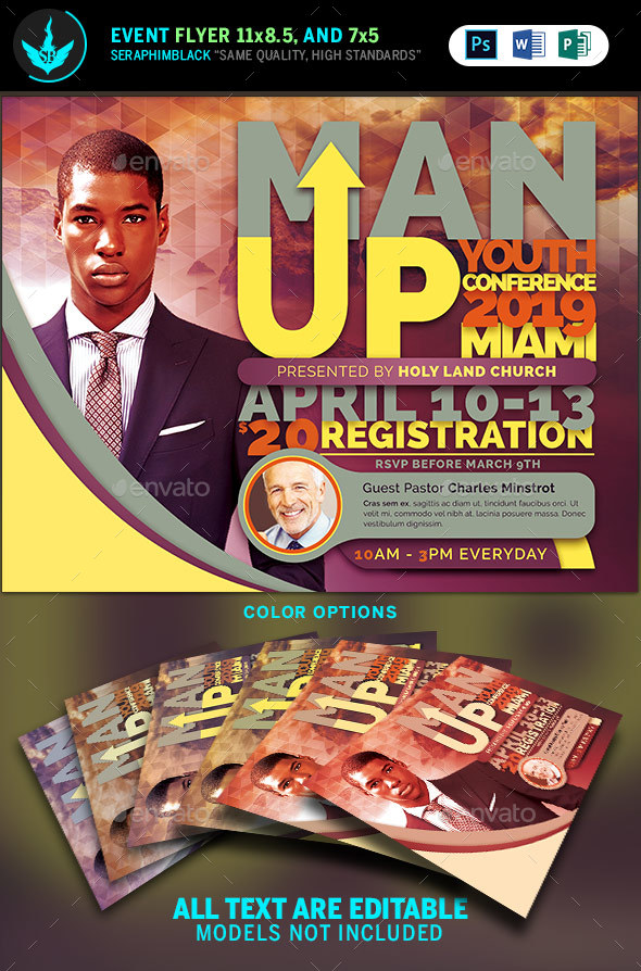 Man Up Church Conference Flyer Template - Church Flyers