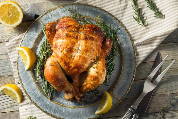 Homemade Rotisserie Chicken with Herbs - Stock Photo - Images