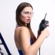 Sexy Girl Posing with a Drill on a White Studio with a Stepladder. Concept - Beauty and Strength - VideoHive Item for Sale