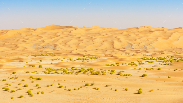 Wadi and Dunes in the Empty Quarter - Stock Photo - Images