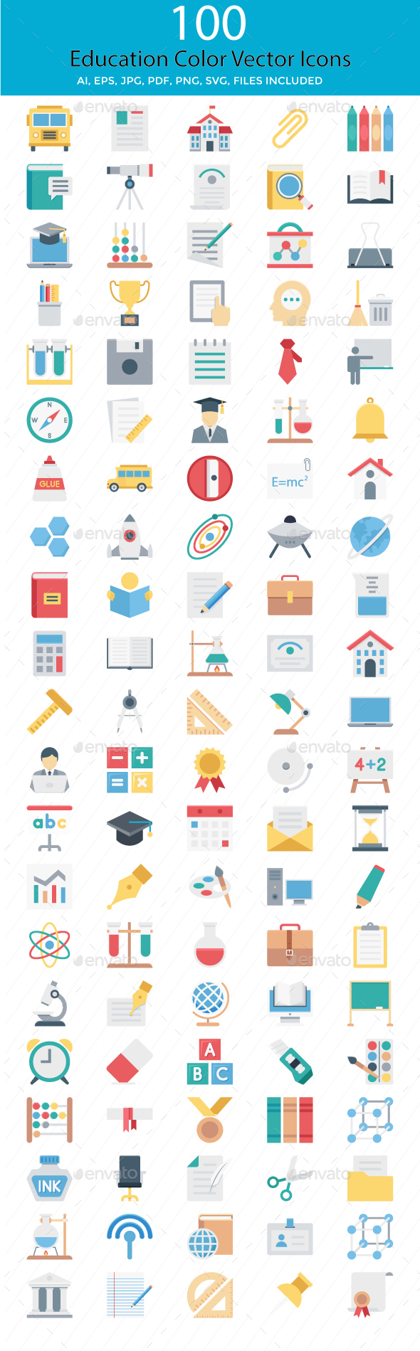 100 Education Color Vector Icons - Icons