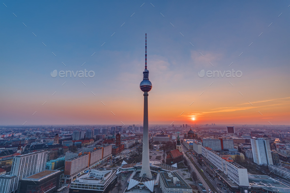 Sunset at the famous Television Tower - Stock Photo - Images