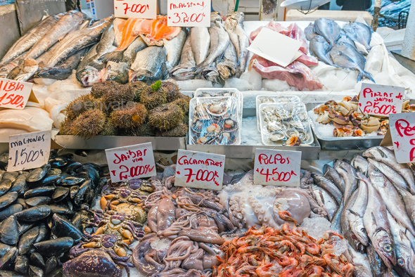 Fresh seafood and fish for sale at a market - Stock Photo - Images