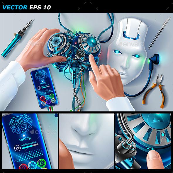Man Repairing Robot - Computers Technology