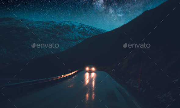 Norway adventures, nighttime road trip - Stock Photo - Images