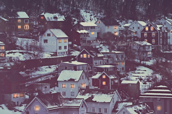 Norway, beautiful city covered with snow - Stock Photo - Images