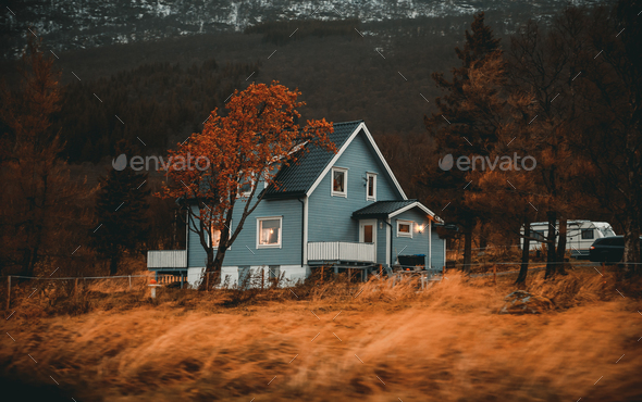 Norway, traditional wooden house - Stock Photo - Images